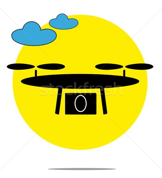 Illusztráció felhők citromsárga kör terv technológia Stock fotó © gigra