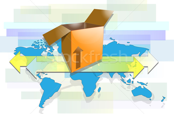 Box with arrows and world map for international shipment Stock photo © gigra