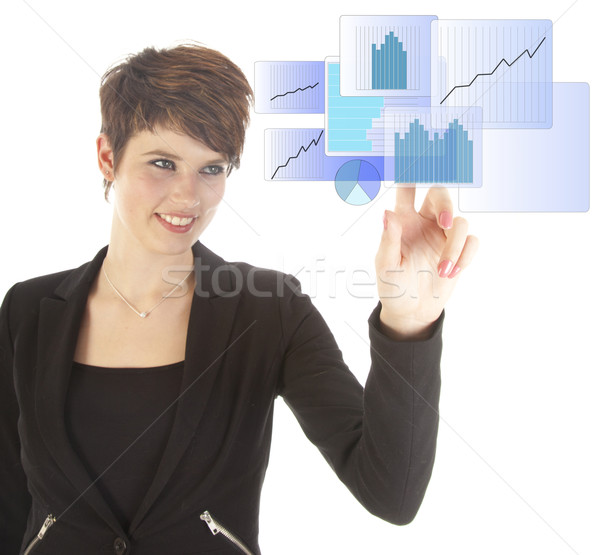 Young woman with blue virtual graph isolated on white background Stock photo © gigra