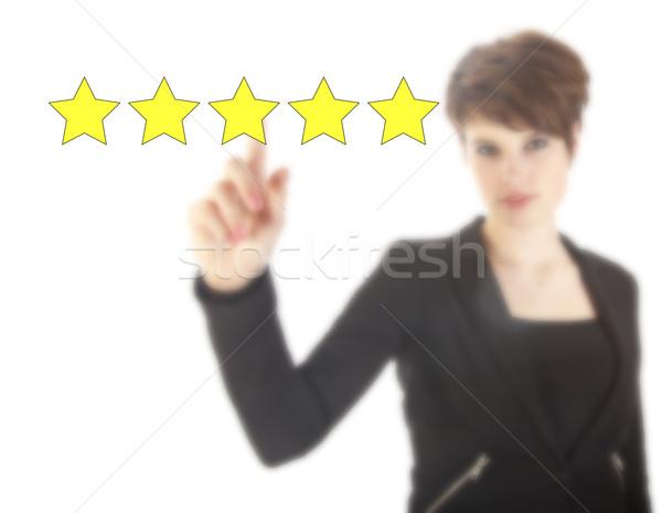 Genç kadın beş Yıldız yalıtılmış beyaz iş Stok fotoğraf © gigra