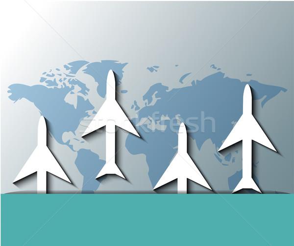 Illustration of planes flying over world map Stock photo © gigra