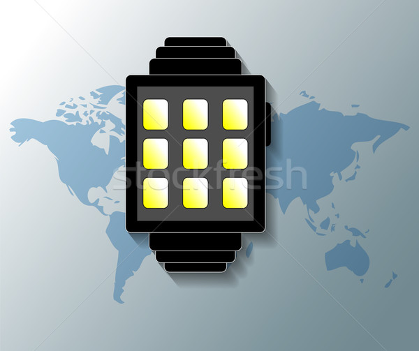 Illustration of smartwatch with grey world map background Stock photo © gigra