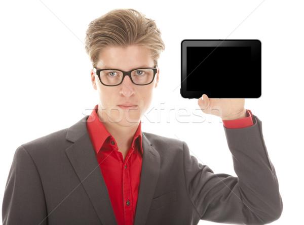 Foto stock: Joven · mini · tableta · aislado · blanco