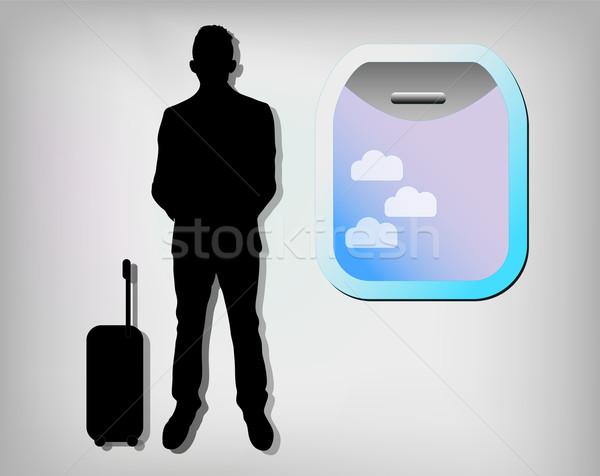 Illustration homme d'affaires avion fenêtre homme Voyage Photo stock © gigra