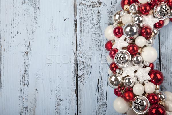 Noel çelenk açık mavi ahşap ahşap dizayn Stok fotoğraf © gigra