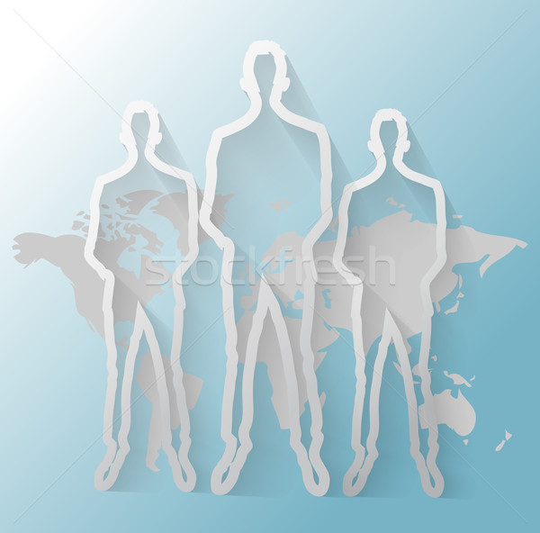 Illustration of business men group with world map Stock photo © gigra