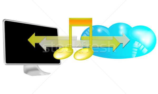 Ilustración transmisión música nube aislado blanco Foto stock © gigra