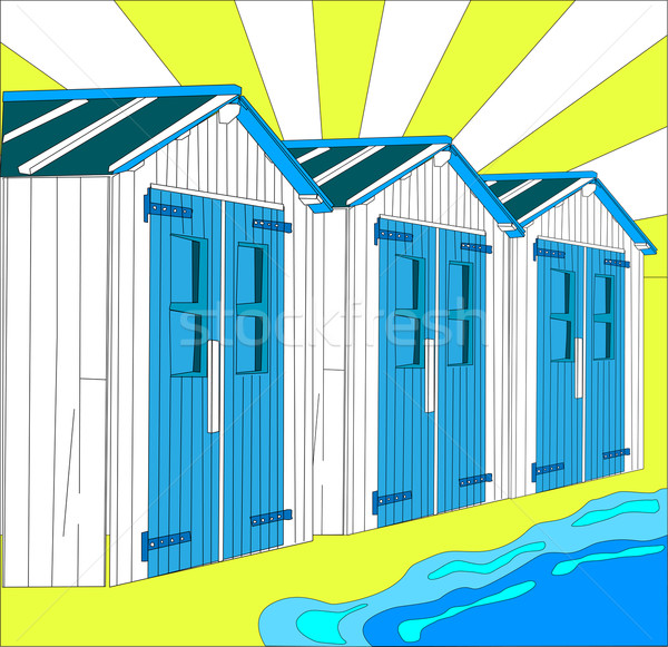 illustration of dutch little houses on beach, The Netherlands Stock photo © gigra