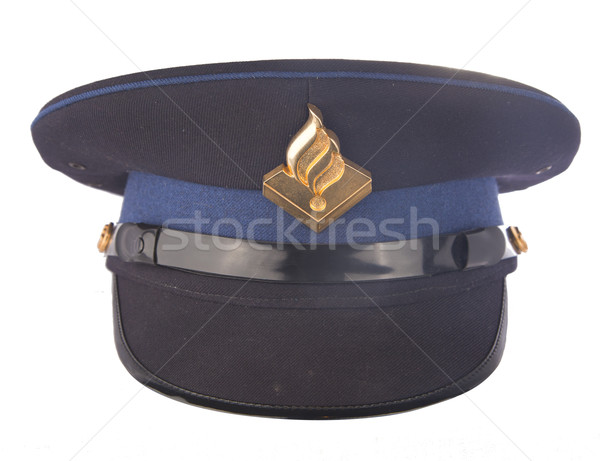 Photo stock: Police · cap · isolé · blanche · travaux