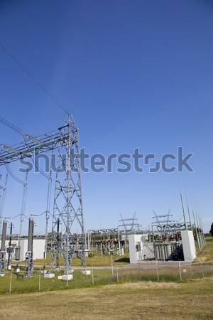 View at electricity installation with blue sky Stock photo © gigra