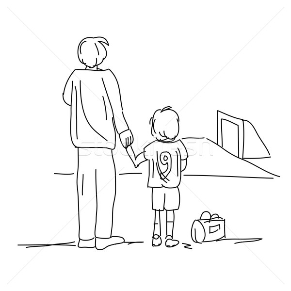 Illustration of dad bringing son to soccer isolated on white background Stock photo © gigra