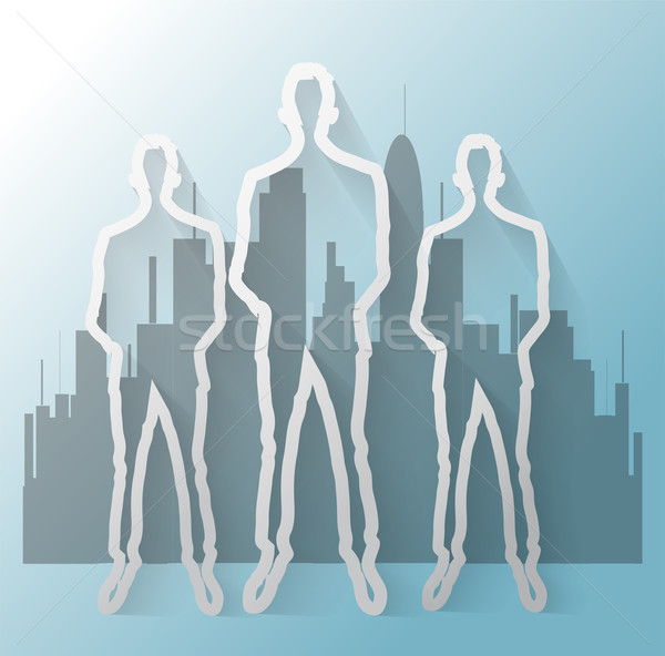Illustration of business man with office buildings Stock photo © gigra