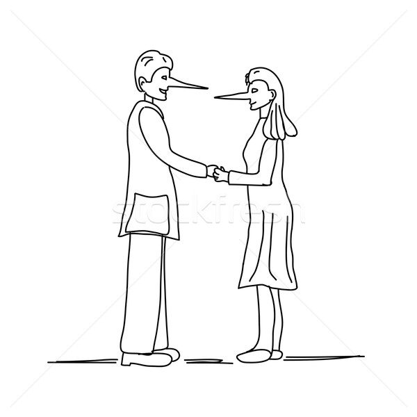 Illustration of young couple making a lie with long nose isolated on white background Stock photo © gigra