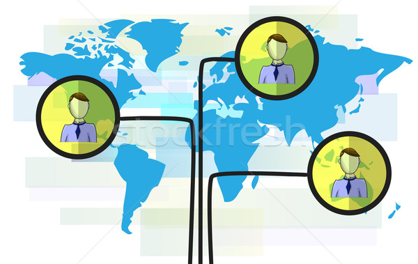 Illustration of persons on blue world map isolated on white background Stock photo © gigra