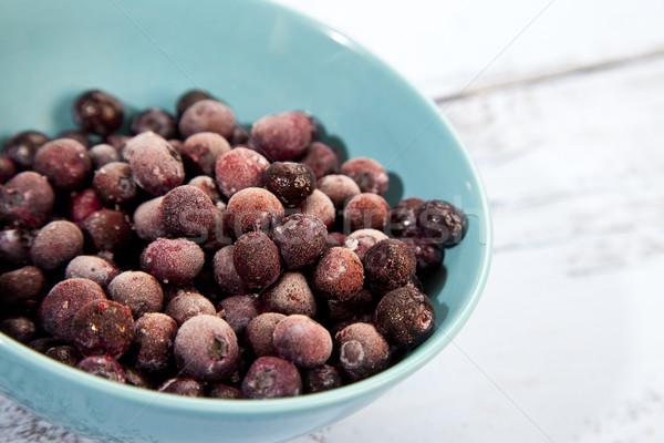 凍結 ブルーベリー 水色 木製 フルーツ 背景 ストックフォト © gigra
