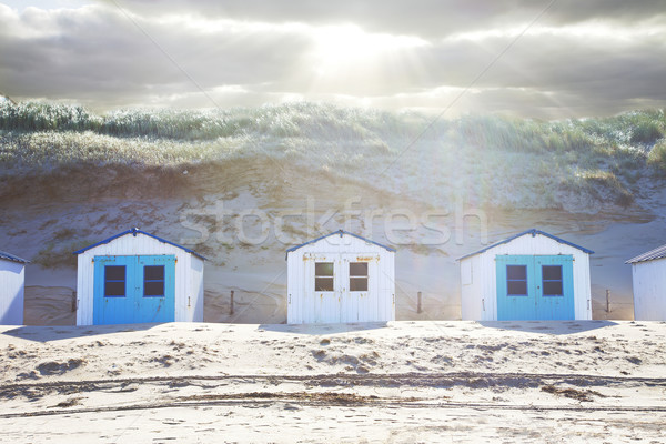Typical Dutch beach houses in a row Stock photo © gigra