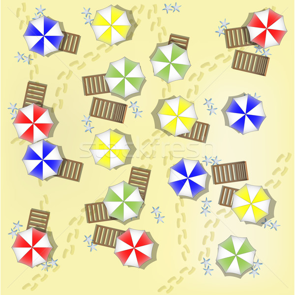 Illustration of beach from above with parasols and beds Stock photo © gigra