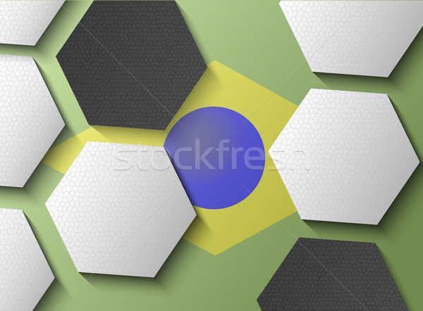 Illustration of Brasil flag with soccer items Stock photo © gigra