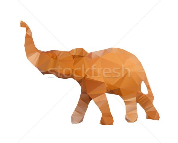 Polygonal illustration of head of elephant isolated on white background Stock photo © gigra