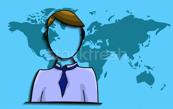 örnek işadamı dünya haritası iş adam toplantı Stok fotoğraf © gigra