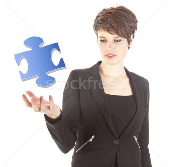 若い女性 パズル 作品 孤立した 白 ビジネス ストックフォト © gigra