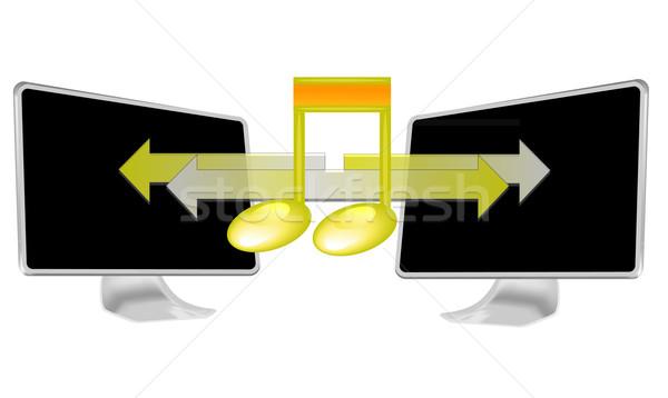 Illusztráció streamelés zene pc izolált fehér Stock fotó © gigra