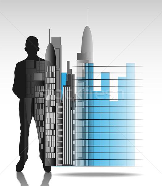 Illustration homme d'affaires bureau Skyline graphique isolé Photo stock © gigra