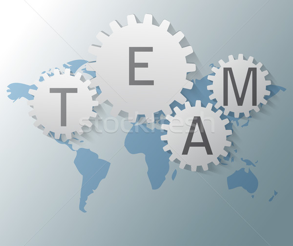 Stock photo: Illustration of world map with gears and team text