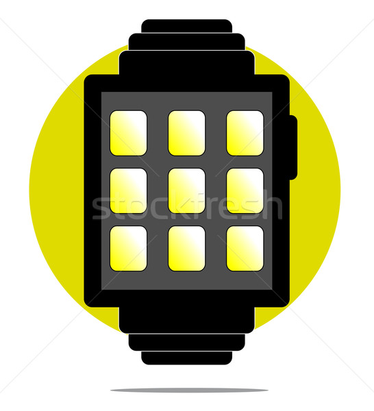 Illustration of smartwatch with green circle background Stock photo © gigra
