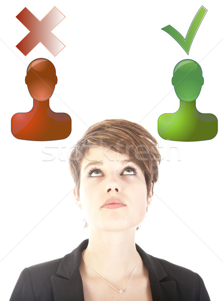 Young woman making good or bad choice isolated on white background Stock photo © gigra