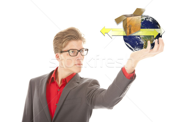 Young man holding earth with transport symbols isolated on white. Elements of this image are furnish Stock photo © gigra