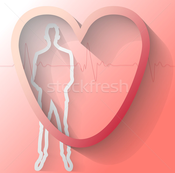 Illustration homme battement de coeur rouge amour technologie Photo stock © gigra