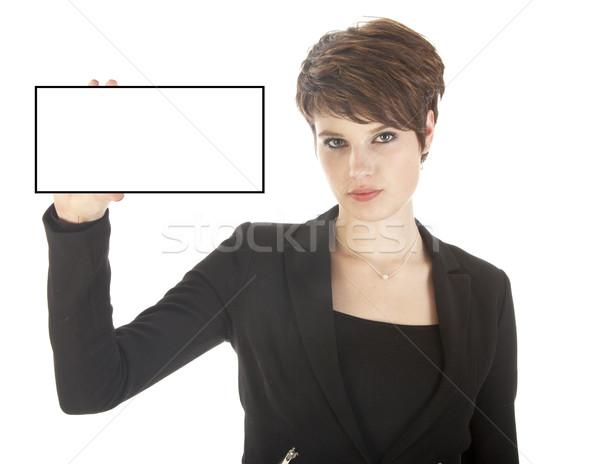Genç işkadını boş kart yalıtılmış beyaz Stok fotoğraf © gigra