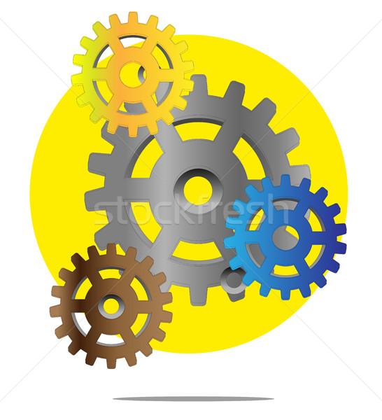 Illusztráció színes sebességváltó citromsárga kör fém Stock fotó © gigra