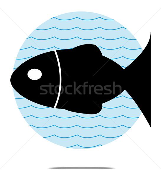 Illustration noir poissons bleu vague design Photo stock © gigra