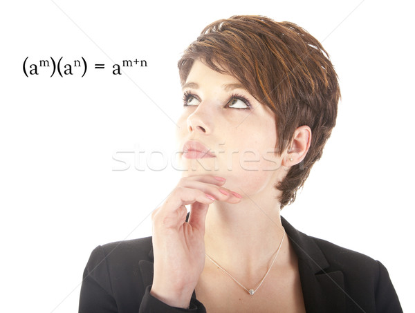 Young woman looking at mathematics isolated on white background Stock photo © gigra