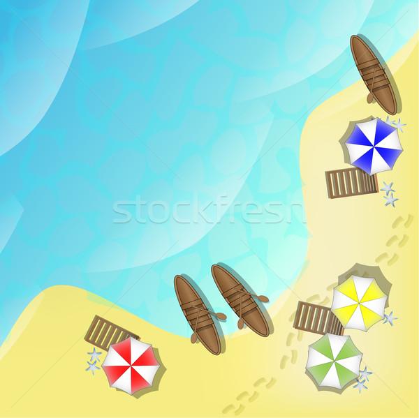 Ilustração praia mar barcos navio relaxar Foto stock © gigra