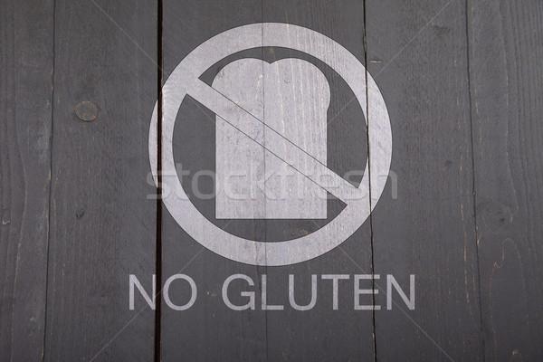 Stockfoto: Glutenvrij · brood · teken · zwarte · houten · geneeskunde