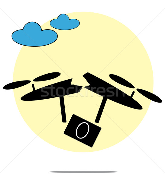Illustration of broken drone with circle background Stock photo © gigra
