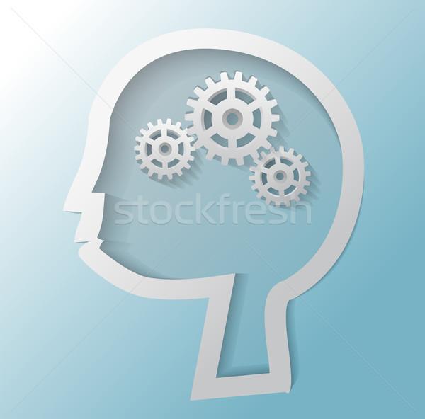 Ilustración tres artes cabeza azul tecnología Foto stock © gigra