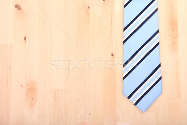 çizgili iş kravat ahşap ahşap mutlu Stok fotoğraf © gigra