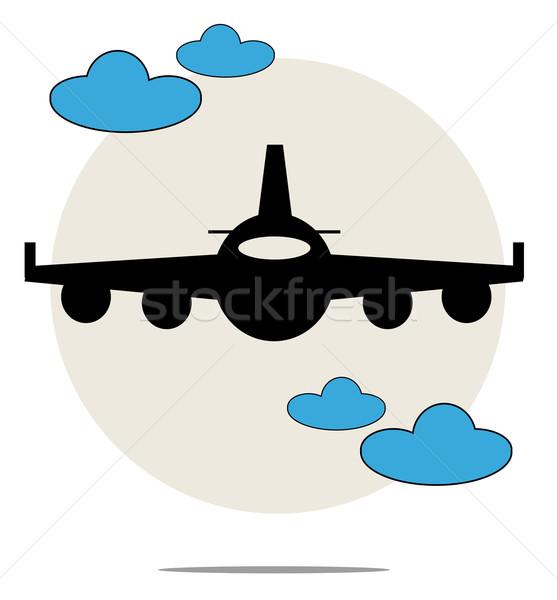 örnek siyah uçak mavi bulutlar imzalamak Stok fotoğraf © gigra