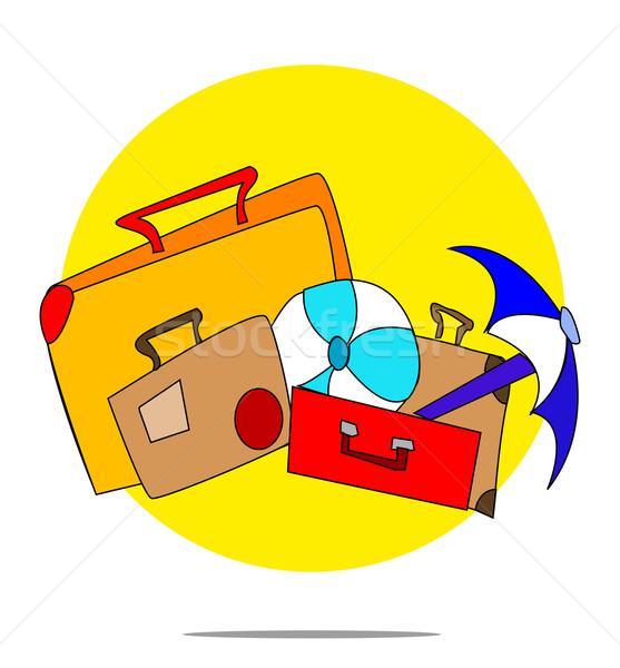 Illusztráció szett bőröndök citromsárga kör üzlet Stock fotó © gigra