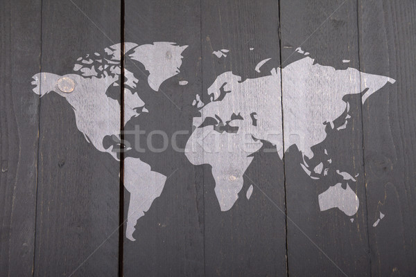 世界地図 暗い 黒 木製 木材 抽象的な ストックフォト © gigra