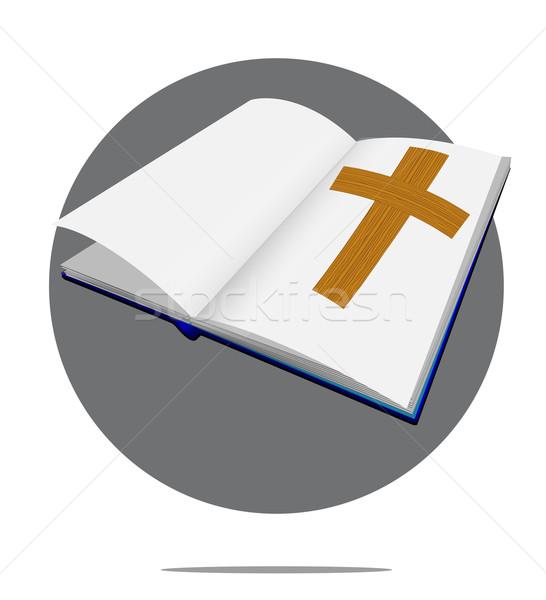 ストックフォト: 実例 · 聖書 · クロス · 緑 · サークル · 図書
