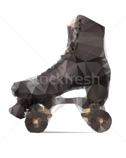 Polygonal illustration of black rollerskate isolated on white background Stock photo © gigra