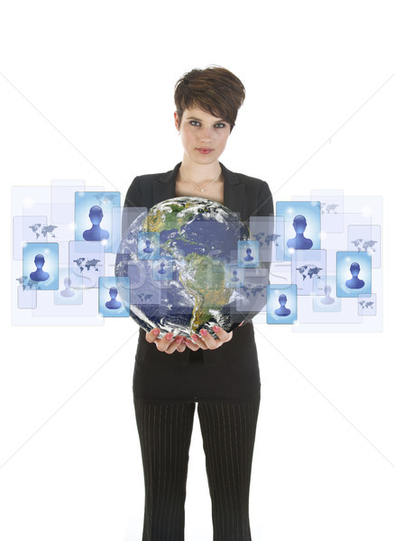Young woman holding earth with social media symbols isolated on  Stock photo © gigra