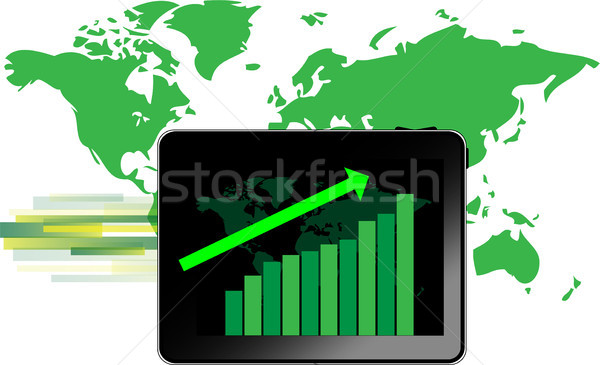 Comprimé graphique croissance vert carte du monde monde Photo stock © gigra