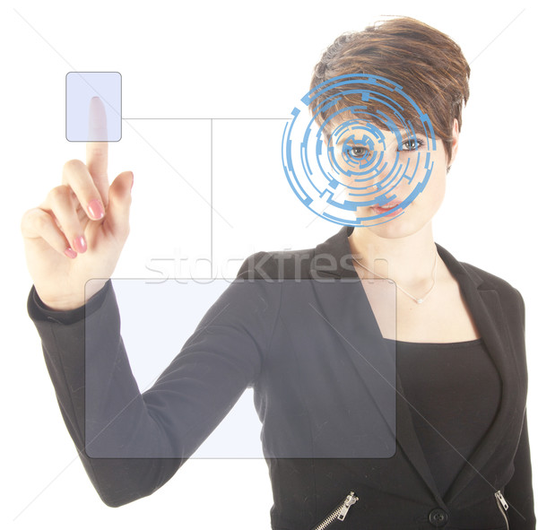 Young woman with security iris and fingerprint scan isolated on white background Stock photo © gigra