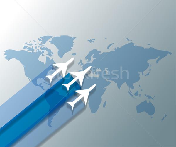 Illustration avions carte du monde design monde fond Photo stock © gigra